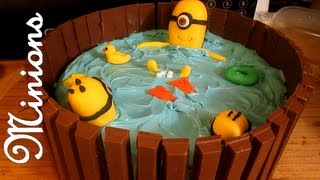 getlinkyoutube.com-DESPICABLE ME MINION HOT TUB CAKE [KIT KAT CAKE]