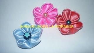 getlinkyoutube.com-tutorial flores japonesas  pequeñas decorar moños manualidades  No.121 Manualidades la Hormiga