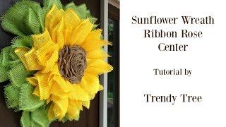 getlinkyoutube.com-Sunflower Wreath with Ribbon Rose Center Tutorial