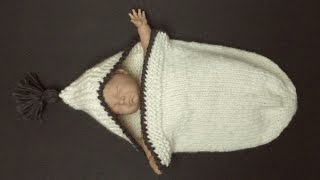 getlinkyoutube.com-COZY & ROOMY Knitted Sleeping Bag For A Newborn Baby (4 Advanced Beginner)
