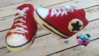 getlinkyoutube.com-Converse chaussures bébé crochet 1/2 / Converse all stars baby shoes crochet (english subtitles)