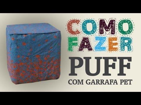 Como Fazer um puff com garrafas PET e papelão / How to: beanbag with plastic bottles