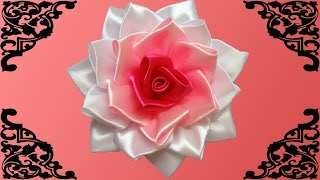 getlinkyoutube.com-DIY kanzashi flower, how to make ribbon rose,kanzashi rose,kanzashi flores de cinta