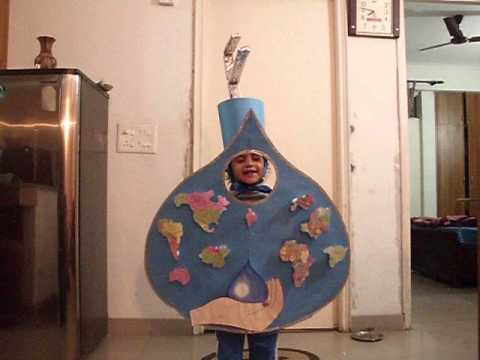 Mothers Pride School fancy dress competition. tulika khanna as water drop for save water message