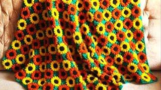 getlinkyoutube.com-How to crochet afghan blanket with flowers free pattern tutorial