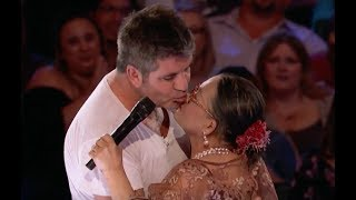 73 Y O Lady Brings Love and Gets A KISS From Simon  Week 3   America's Got Talent 2017
