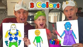 3 Marker Challenge With in Real Life Characters!!! Baldi's Basics, Hello Neighbor and Granny