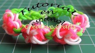 getlinkyoutube.com-Como hacer una pulsera de gomitas Jardin de Rosas. Rainbow Loom Rose Garden.