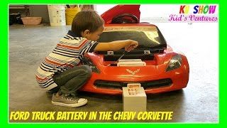 getlinkyoutube.com-Power Wheel Ride On! Putting The Ford Truck Battery In The Chevy Corvette!