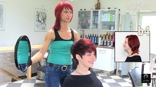 getlinkyoutube.com-Extreme Pixie Short Haircut Makeover by Anja Herrig, hairundmehr.com red hair dye