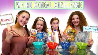 getlinkyoutube.com-Weird Cereal Challenge! (Haschak Sisters)