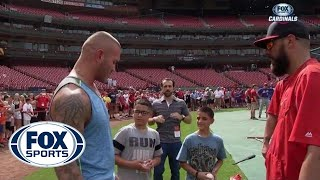 getlinkyoutube.com-WWE Superstar Randy Orton visits Cardinals batting practice
