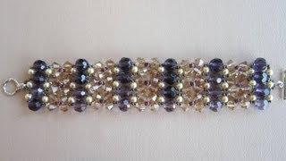 getlinkyoutube.com-Purple bracelet.  Фиолетовый браслет . Делаем сами . Бижутерия своими руками .