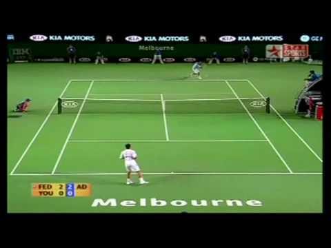 Federer Youzhny backhand slice festival