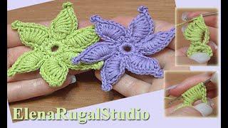 getlinkyoutube.com-How To Crochet Flower Thick Petals With Picot Tutorial 45 Gwiazdka na szydełku