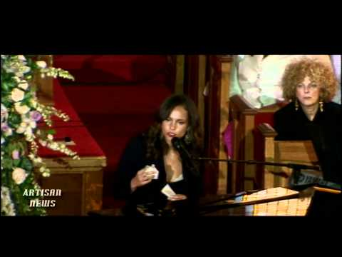 WHITNEY HOUSTON FUNERAL WITH FAMILY, ALICIA KEYS, KEVIN COSTNER, STEVIE WONDER