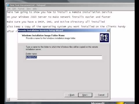 How To Install A Remote Installation Service on Windows 2003 Server for a Network