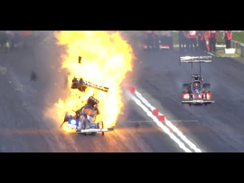 Antron Brown NHRA Top Fuel  crash at Pomona Winter Nationals