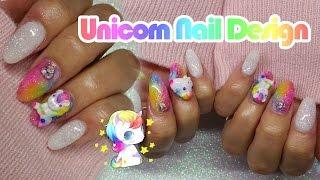 Acrylic Nails   Unicorn nail Design   Rainbow Nails