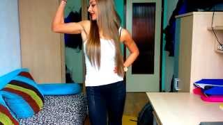 18 year-old beautiful Girl flex Muscles, Biceps, Abs, Calves