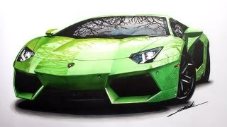 getlinkyoutube.com-Lamborghini Aventador Speed Drawing by Roman Miah
