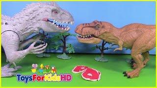 getlinkyoutube.com-Vídeos de dinosaurios para niños INDOMINUS REX VS T-REX Juguetes de dinosaurios ToysForKidsHD