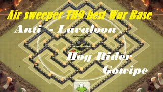getlinkyoutube.com-Clash of Clans - Air sweeper TH9 best War Base Anti Lavaloon | Hog rider | Speed build | Replays