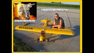 Giant Piper J-3 Cub with 4 Stroke Nitro Engine, the build, review, and flight by NightFlyyer!
