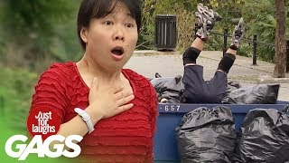 Rollerblading Cop Ends up in the Trash - Just For Laughs Gags