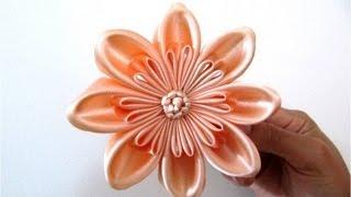 getlinkyoutube.com-Moños  hermosos para el cabello en cintas flores pétalos triple dobles