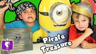 getlinkyoutube.com-Pirate MINION Treasure Chest! SURPRISE Toys + Blind Bags Adventure HobbyKidsTV