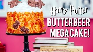 getlinkyoutube.com-How to Make a HARRY POTTER BUTTERBEER MEGA CAKE! Caramel Cobwebs, Butterscotch Buttercream and more!