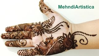 getlinkyoutube.com-Stylo Arabic Henna Mehndi Designs For Party:FullHand Dubai Mehendi Step By Step(MehndiArtistica)