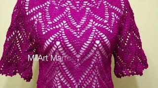 getlinkyoutube.com-Blusa Corazones Crochet parte 1 de 2