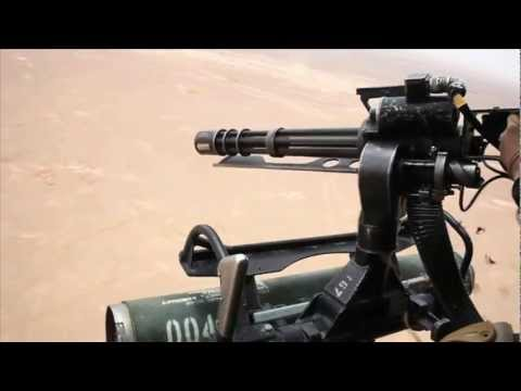 Helicopter Gatling Gun Rapid Firing GAU-17/A Minigun Shooting - Helicopter Door Gunner Afghanistan