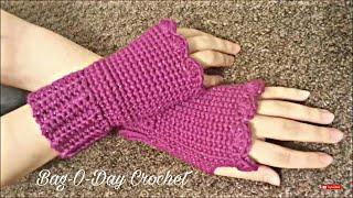 getlinkyoutube.com-CROCHET How to #Crochet Fingerless gloves Wristers #TUTORIAL #155