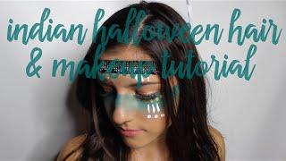getlinkyoutube.com-Tribal Indian Halloween Hair & Makeup Tutorial | Girly Ass Vlog ❥