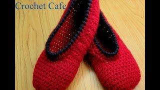 getlinkyoutube.com-Crochet Cafe كروشيه حذاء باليرينا | كروشيه كافيه