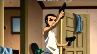 Riley and Huey's gun fight.