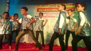 Abhijith and frinds (std 4B EM)on stage at 66th annuaval day of Govt L P School Kottappady north width=