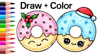 getlinkyoutube.com-How to Draw + Color Christmas Donuts step by step Easy and Cute