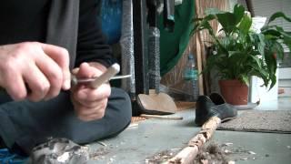 getlinkyoutube.com-Friction fire - pull string drill ? flywheel thong drill ? spinning top drill ? - 47% primitive