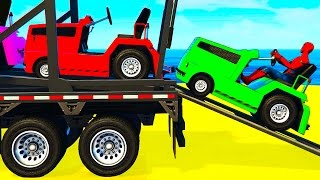 getlinkyoutube.com-FUN COLOR CARS Transportation - Spiderman Cartoon for Kids w Colors for Toddlers Nursery Rhymes