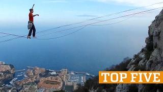 getlinkyoutube.com-TOP FIVE: Hoop Diving, Highlining & Handstands | PEOPLE ARE AWESOME 2017
