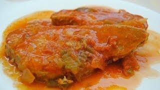 getlinkyoutube.com-Receta de pescado en salsa de tomates y pimientos rojos / Fish in tomato sauce and red peppers