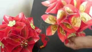 getlinkyoutube.com-红包绣球灯 - lantern made from red packet