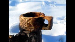 getlinkyoutube.com-Деревянная кружка кукса (Kuksa) делаем своими руками. Резьба по дереву урок