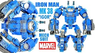 "Iron Man Mark 38 ""Igor"" Heavy Lifting Mech Suit Unofficial LEGO KnockOff Set w/ Tony Stark"