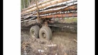 Сочлененный лесовозный тягач A25E с прицепом-роспуском