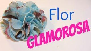 getlinkyoutube.com-Como hacer una flor glamorosa de tela. Glamorous Flower.